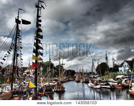 the port of carolinensiel at the german coast