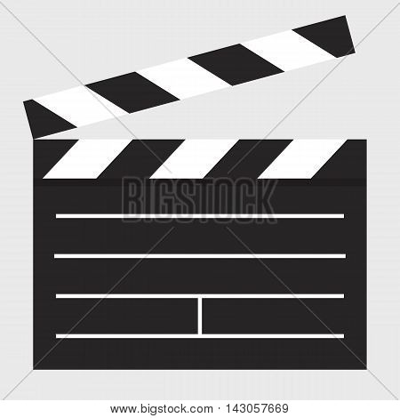 Flat icon clapper board on gray background. Vector illustration.