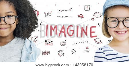 Imagine Kids Freedom Education Icon Concept