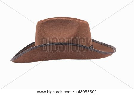 Brown felt cowboy hat isolated on white background