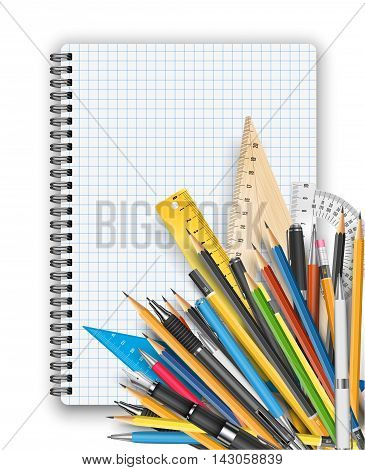 Back to school theme. Notebook, rulers pens and pencils