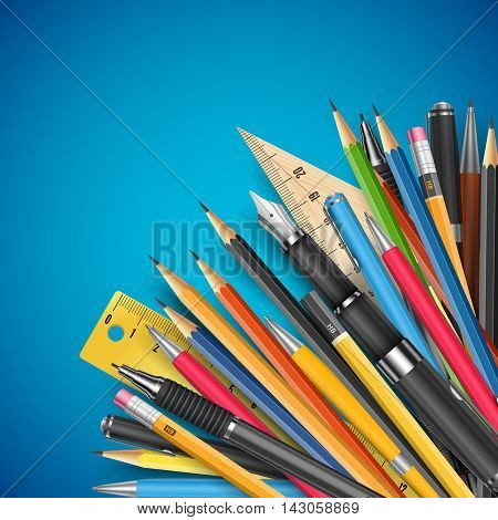 Education theme vector background template with pen and pencils