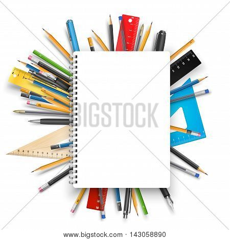 Back to school theme. Notebook rulers pens and pencils. Vector background for education designs