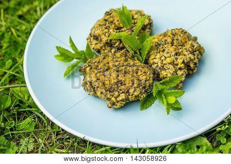Green lentil vegan burgers on a blue plate