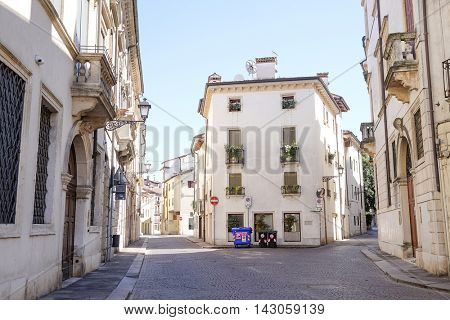Vicenza, Italy - July, 17, 2016: street in a center of Vicenza, Italy