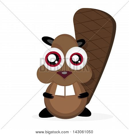 Funny cartoon beavers vector illustration on white background