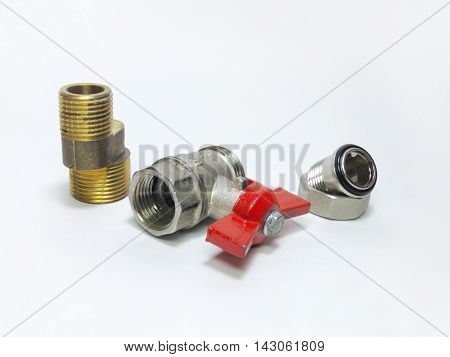 Ball valve faucet eccentric and connection of threaded fittings