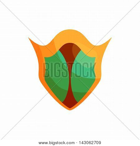 Protection shield icon in cartoon style isolated on white background