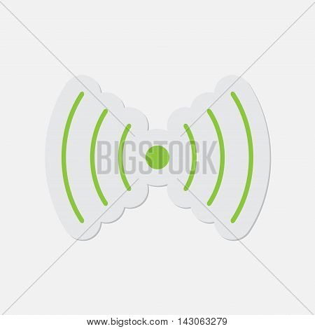 simple green icon with contour and shadow - sound or vibration symbol on a white background