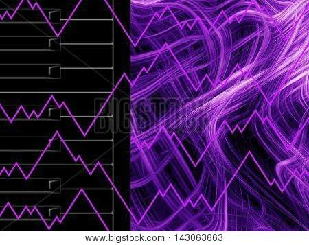 Black keys of the piano on abstract neon background