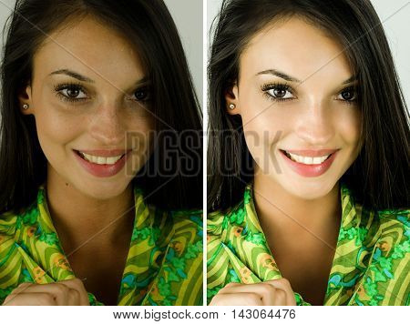 Portrait of a beautiful brunette girl before and after retouching with photo-shop. Bad photo vs good photo, acne beauty treatment. Edited photos being compared.
