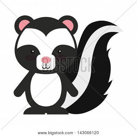 woodland zorrillo animal character cute icon vector illustration design vector illustration design
