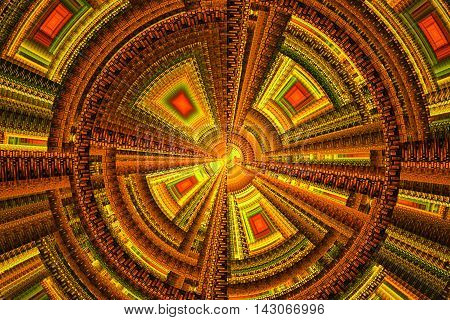 Abstract red and yellow technical square fractal