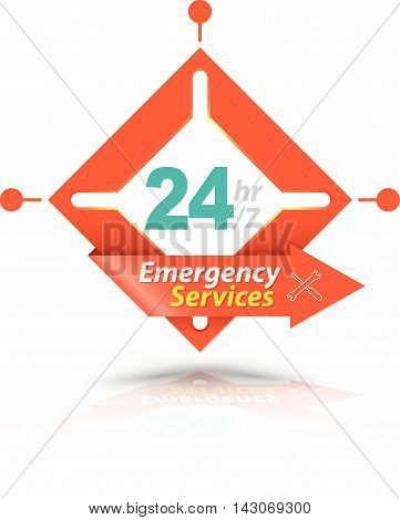 Arrow Square Emergency Services 24H Icon Badge Label or Sticker for Customer Service Support or CRM Concept Isolated on White Background