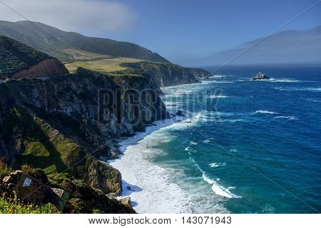 Pacific Ocean Big Sur California cloudy day