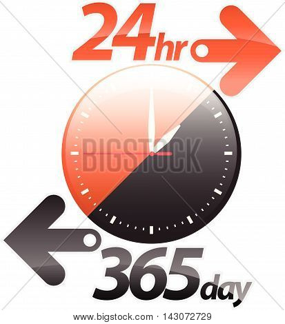 Orange black 24hr 365 day arrow round the clock service sticker icon label banner sign isolated on white. Vector illustration.