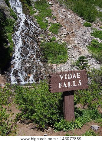 Vidae Falls in Crater Lake National Park cascades down the side of a hill on a sunny summer day.