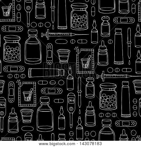 Vector seamless hand drawn pattern on the theme of pharmacy medicine health on black color. Background for use in design, packing, textile, fabrics