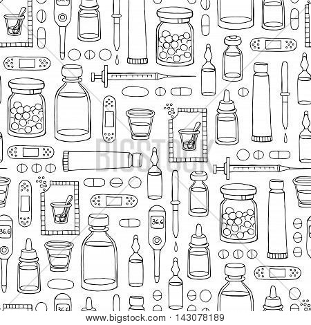 Vector seamless hand drawn pattern on the theme of pharmacy medicine health on white color. Background for use in design, packing, textile, fabrics