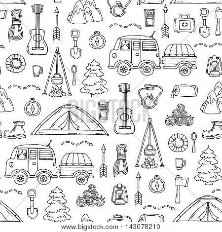 Vector seamless pattern with hand drawn isolated symbols of tourism on white color. Pattern on the theme of travel. Background for use in design, packing, textile, fabrics