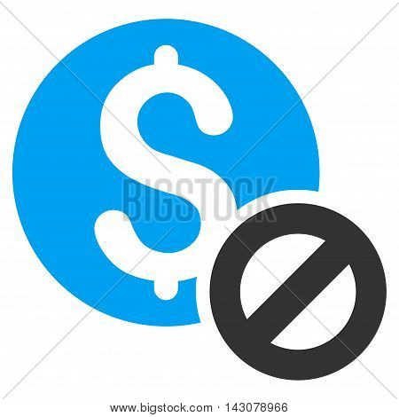 Free of Charge icon. Vector style is bicolor flat iconic symbol with rounded angles, blue and gray colors, white background.