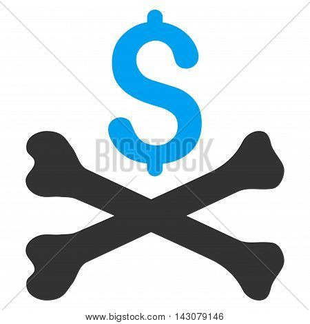 Mortal Debt icon. Vector style is bicolor flat iconic symbol with rounded angles, blue and gray colors, white background.