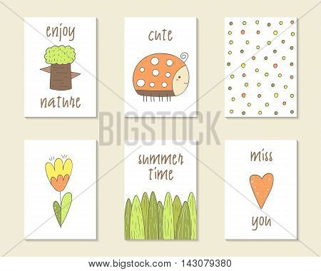 Cute doodle birthday party baby shower cards brochures invitations with tree lady bird polka dot flower grass heart. Cartoon objects character background Printable templates set
