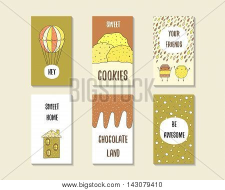 Cute doodle birthday party baby shower cards brochures invitations with hot air balloon cookie cake chocolate house polka dots. Cartoon objects characters background Printable templates set