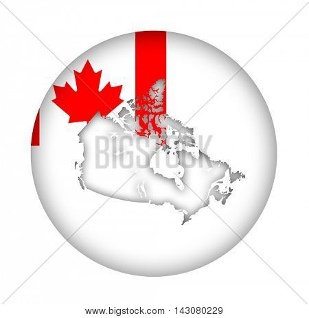 Canada map flag button isolated on a white background.