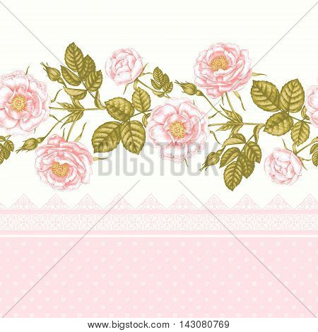 Vector seamless background. Flowers. Roses. Design for fabrics textiles paper wallpaper web. Border. Vintage style. Floral ornament.
