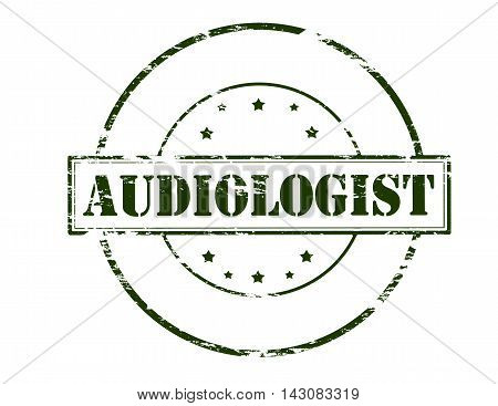 Rubber stamp with word audiologist inside vector illustration