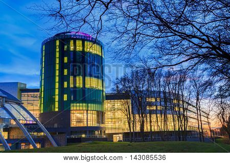 ABERDEEN SCOTLAND - 9 FEBRUARY 2015 - The Robert Gordon University (RGU) in Aberdeen during sunrise on February 09 2016. RGU is one of the UK's top Universities in oil and gas industry.