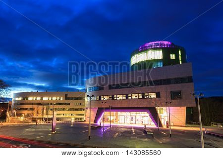 ABERDEEN SCOTLAND - 9 FEBUARY 2015 The Robert Gordon University (RGU) in Aberdeen during sunrise on February 09 2016. RGU is one of the UK's top Universities in oil and gas industry.