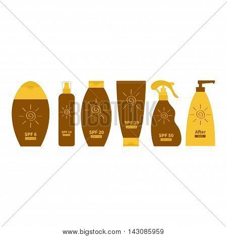 Tube of sunscreen suntan oil cream. After sun lotion. Bottle set. Solar defence. Spiral sun sign symbol icon. SPF 6 15 20 30 50 sun protection factor. UVA UVB sunscreen. White background. Flat Vector