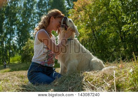 Woman And Dog Together