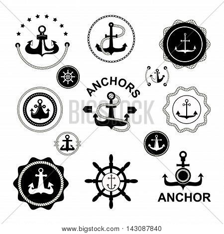 Set of vintage retro nautical badges and labels. Vector sign anchor ocean ship, graphic element nautical symbols. Vintage retro marine emblem, label nautical anchor symbols and marine design emblem.