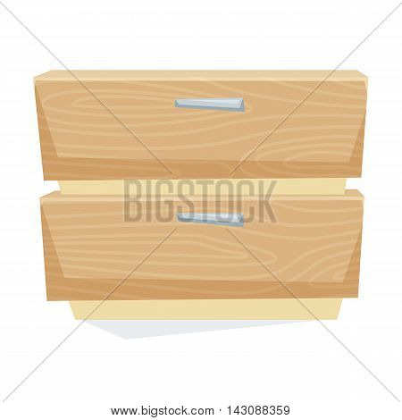 Bedside table vector illustration. Cartoon cabinet isolated on white