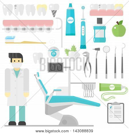 Flat health care dentist symbols and medical research dentist symbols medical care. Healthcare system dentist symbols concept. Medicine dentist symbols and chemical engineering dentist symbols.