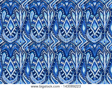 Tribal Floral Tie Dye Ornament Pattern Blue