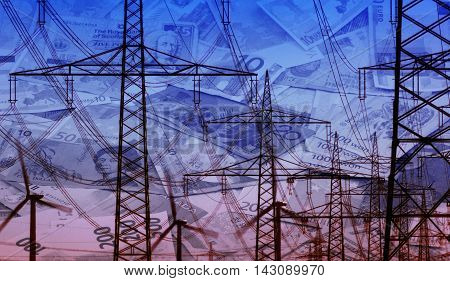 Concept currency bills and energy infrastructure power supply composition