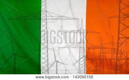 Concept Energy Distribution Flag of Republic of Ireland merged with high voltage power poles