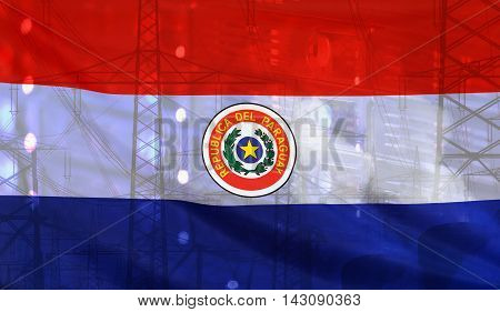 Concept Technology Environment Flag of Paraguay merged with technology high voltage power poles and electrical power plant cooling towers
