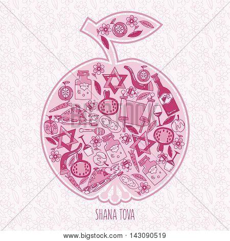 Hashanah Jewish New Year celebration card. holiday attributes arranged in the shape of an apple. Honey bread pomegranate. Shana Tova