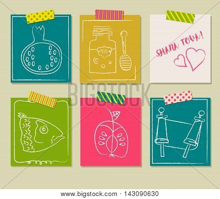 Happy Jewish new year Rosh Hashanah Shana Tova vector greeting cards