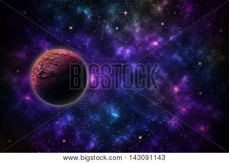 Beautiful stars planets on night sky galaxy background