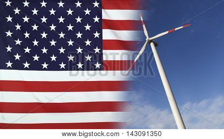 Concept clean energy with flag of USA merged with wind turbine in a blue sunny sky