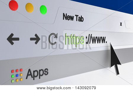 3D illustration- mouse arrow pointing the url in the web browser address bar