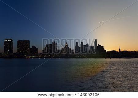 Philadelhpia Skyline with twilight to sunrise transition