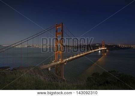 Golden Gate Bridge Sunset Twilight transition with San Francisco downtown in the background