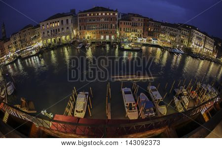 Venice Panorama Rialto River in Fisheye view sunset to twilight transition